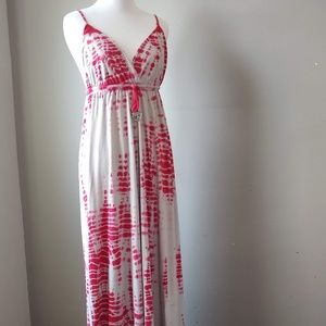 Gypsy 05 Maxi Dress Red Tie Dye Floor Length Large